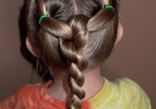 Little Girl's Hairstyles -Knotted Laces with a Twist Braid
