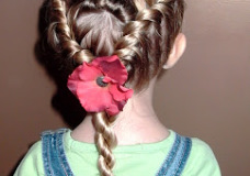 Little Girl's Hairstyles -Twist Rolls with French Twist Braids