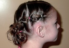 Little Girl's Hairstyles: Puffy Braid into Stuffed Buns