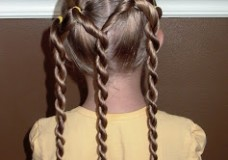 Little Girl's Hairstyles: Triple Twist Braid Ponytails