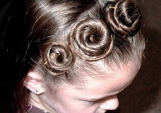 Little Girl's Hairstyles — Rosette Headband Hairdo Picture Tutorial