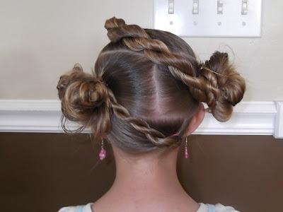 Pretty Hair is Fun: How to do a Twist Braid Stuffed Buns Updo