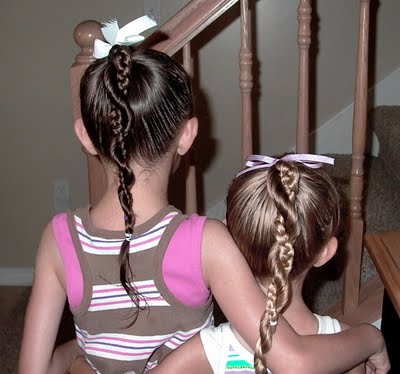 Little Girl's Hairstyles: French Braid Twist Around Braided Ponytail 10-15 min