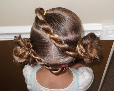 Pretty Hair is Fun : Twist Braid Stuffed Buns Updo