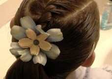 Little Girl's Hairstyles: Short Hair Do- French Twist Braid into Ponytail