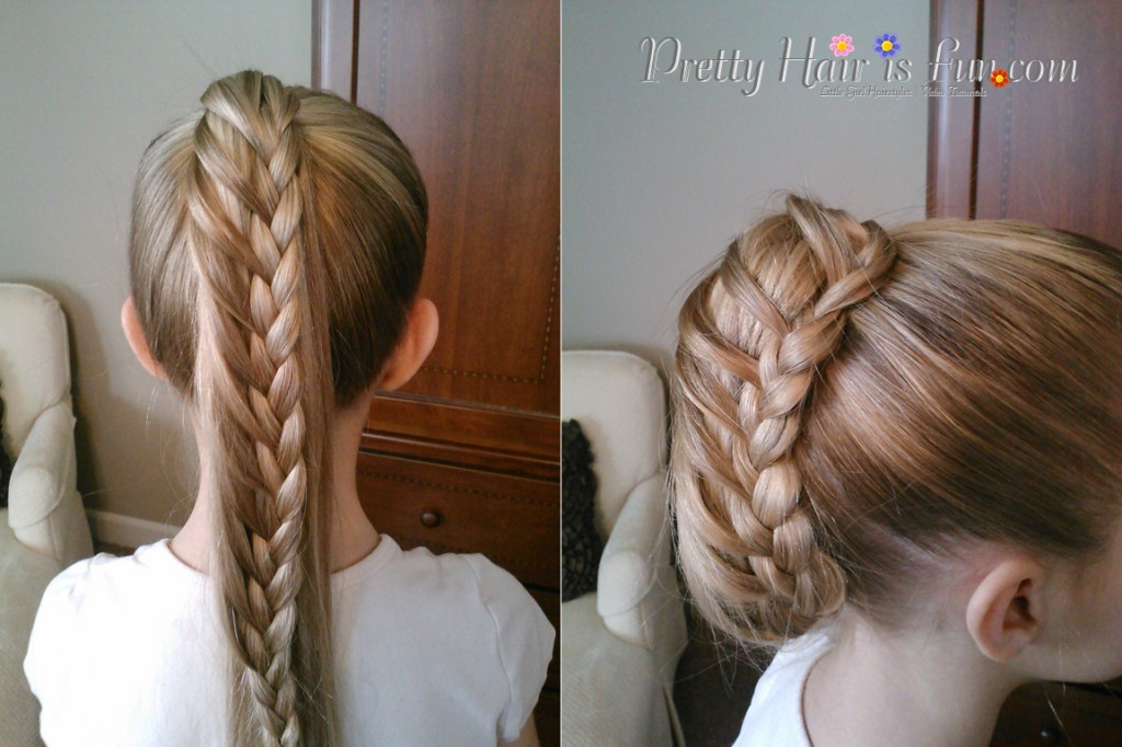 Little Girl's Hairstyles: Ladder Braid Ponytail/ Pulled