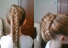 Little Girl's Hairstyles: Ladder Braid Ponytail/ Pulled Braid Updo