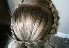 Girl's Hairstyles: Pulled French Braid or Dutch Braid Crossover Bun