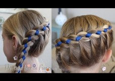 Pretty Hair is Fun: French Four Strand Braid with Ribbon
