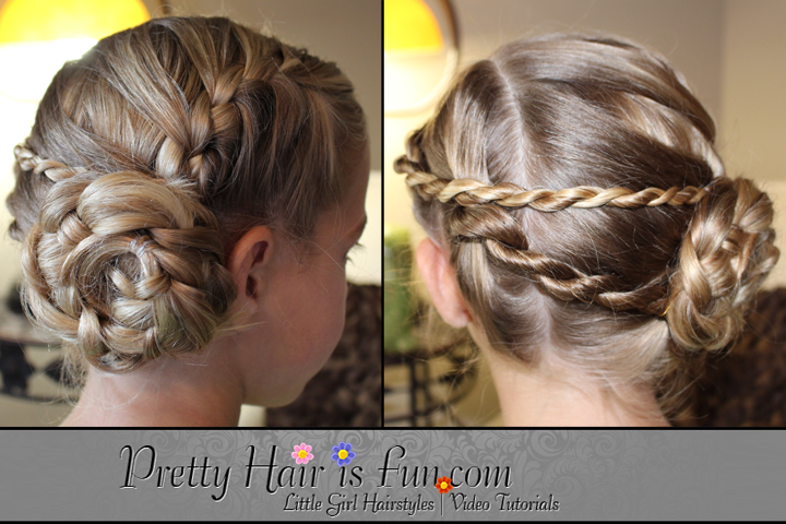 Girls Hairstyles Ladder Braid Pinwheel Updo Pretty