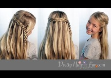 Pretty Hair is Fun: 4 Four Strand Waterfall Braid Tutorial
