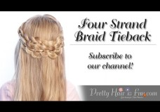 Pretty Hair is Fun: Four Strand Braid Tieback Hairstyle