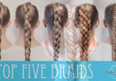 HOW TO BRAID FOR BEGINNERS! TOP FIVE BRAIDS: PRETTY HAIR IS FUN